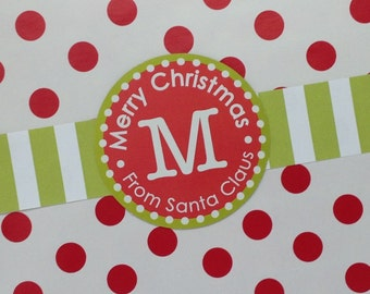 Customized Red and Green Christmas label