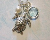 Turtle Necklace, Sea Turtle Necklace, Sterling Silver, Birthstone Necklace