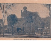 Antique Chicago Postcard Residence Mrs. Potter Palmer Illinois Souvenir Horse and Carriage at Mansion - Chicago Memorabilia