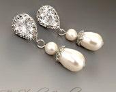 Argent de Style classique en forme de larme perle goutte CZ cristal boucles d'oreilles mariée - CHARLOTTE