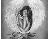 Gone too soon Angel Art Print Glossy Emo Fantasy Girl Zindy Nielsen