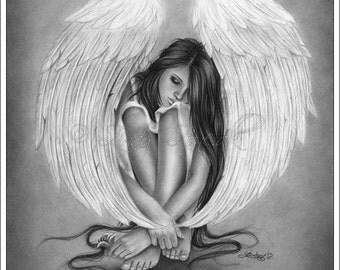 Gone too soon Angel Wings Beauty Rose Art Print Emo Fantasy Girl Woman Zindy Nielsen