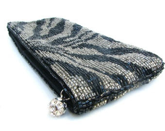 Beaded Zebra Print Clutch - Vintage 90s Neiman Marcus Small Evening Bag - Shiny Silver & Black Tube Beading, Great Condition