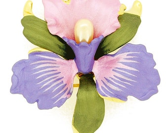 Violet And Pink Orchid Swarovski Crystal Flower Pin Brooch 1011821