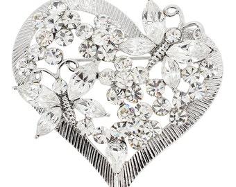 Crystal Butterfly Heart Pin Brooch 1003772