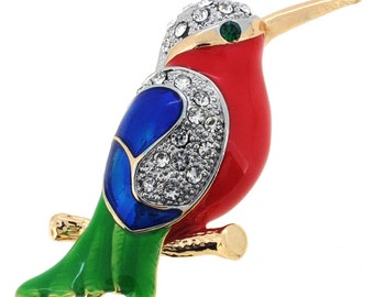 Red And Green Crystal Hummingbird Pin Brooch 1003891