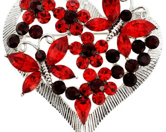 Red Butterfly Heart Crystal Pin Brooch 1003771