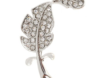 Silver Chrome Leaf Crystal Pin Brooch(Large Size) 1003012