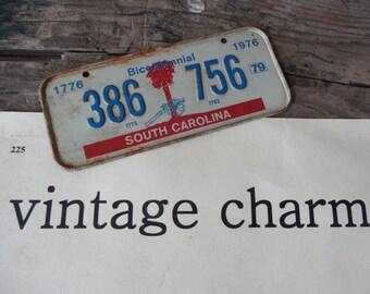 Vintage South Carolina Bike Licence Plate Bicentennial 1976