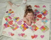 Infant Baby Crib Quilt, Hand Pieced-Quilted and Applique, 38x42 inches, For My Baby Girl