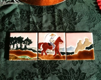 Riding the Range Old Cowhand in three tiles
