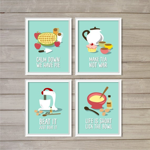 Funny kitchen printable wall art prints set of 4 turquoise for Funny kitchen set