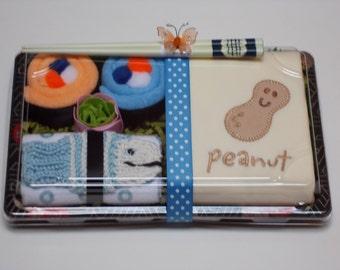 Organic Baby Boy Onesie & Washcloth Sushi - Peanut - Blue Tawashi Fish