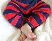 Red and Navy Blue Striped Leggings