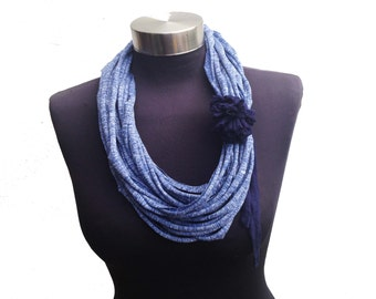Winter fall jeans recycled fabric scarf necklace-tshirt infinity scarf-womens fashion scarves-blue fabric flower-loop elegant scarf-textile