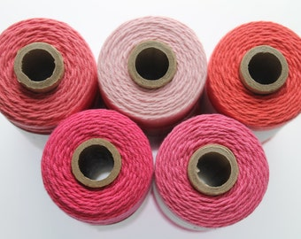 Solid Pink Twine- Coral, Strawberry, Deep Pink, Light Pink, Divine Twine, The Twinery Twine, Blossom, Pink Sorbet,  240 yards full spool