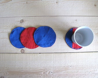 round fabric coasters - popeye blue and red man cave coasters - reversible textile coasters - upcycled coaster - set of 4x - gift for him