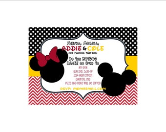 Mickey and Minnie Mouse Birthday Twins Invitation