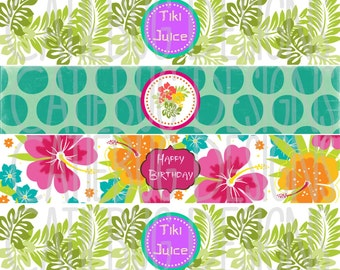 Luau Water Bottle Labels