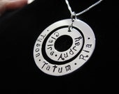 Double Family Circle of Love Necklace , Sterling Silver, Two Eternity Circle Necklace - Personalize with your Loved Ones Names