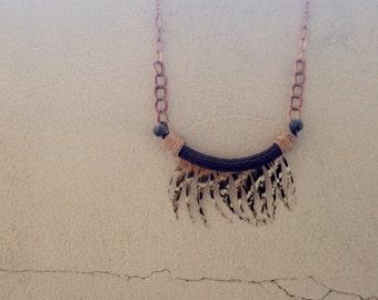 Feathered Fringe Necklace Tribal Statement