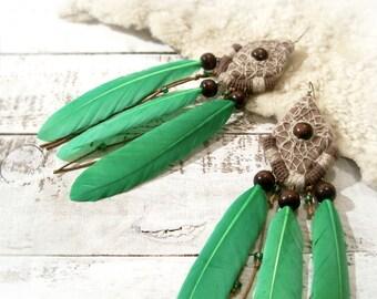 Long Green Tribal Feather Earrings, Bohemian Gypsy Aztec Earrings