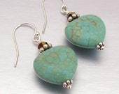 SALE 40% OFF - Sterling Silver Turquoise & Swarovski Crystal Drop Earrings