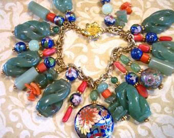 Vintage Chinese Carved Jade Coral Cloisonne Charm Bracelet