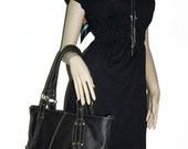 """Anthracite Black Leather Tote Bag Leather Handbag Cross body Purse Travel Weekend Bag, fits a 17"""" laptop, Nora XL // SALE"""