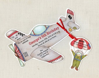 Personalized and Handcut Invitations - Birthday Party Invitations - Airplane Birthday Party - Set of 35