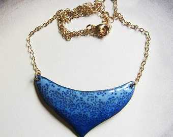 Large crescent moon necklace Royal blue and gold enamel bib necklace Artisan jewelry One of a kind