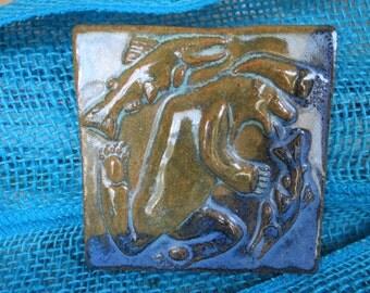 Dancing Dog Works Bear and Salmon Tile
