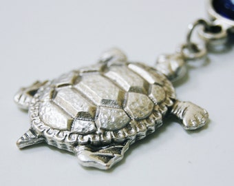 Turtle Key Chain Handmade Evil Eye Silver Plated