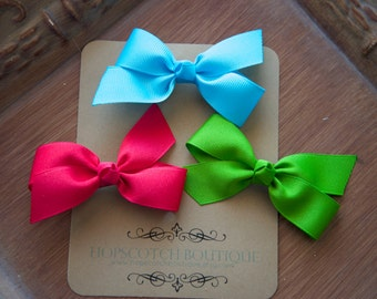 Twist clips trio Pink, Green and Bright Blue  Hair Bows