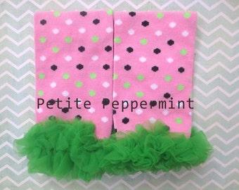 Baby Leg Warmers, Baby Leg Warmers Girl, Baby Ruffle Leg Warmers - Pink Dots