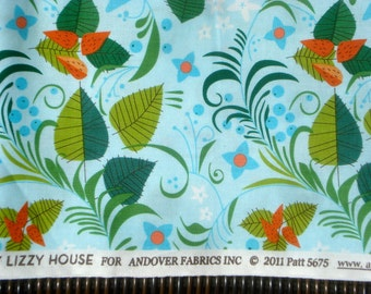 Lizzy House Hello Pilgrim leaves blue FQ or more *WASHED*