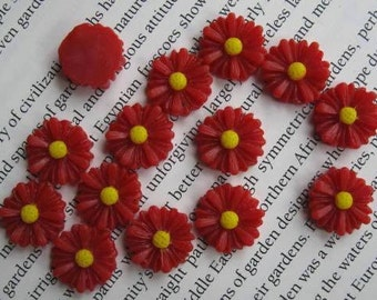 Red Daisy Resin Cabochons 13 mm