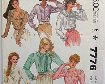 RARE 80's Designer Sue Wang Blouses, Ruffle, Pleated, McCalls 7776 Sewing Pattern UNCUT Misses' Size 6