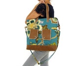 Teal Floral Canvas Tote / Camel Faux Leather Accents. Cotton Canvas Zipper Tote. Work / Everyday Handbag. Rio Tote. Free Shipping Worldwide