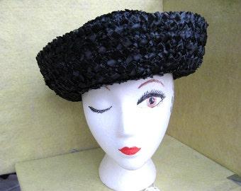 Madelline Hat / Black Plastic Straw Hat / Vintage 60s Hat / Flirty Hat / French Schoolgirl / Vintage Hat