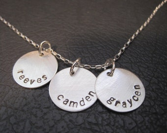 sterling silver stamped necklace, children's names, dates, family,kids,round disks