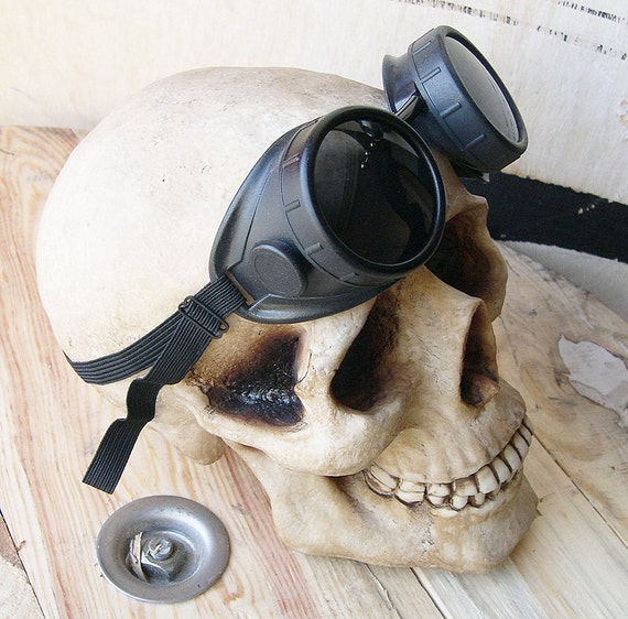 STEAMPUNK GOGGLES - Black Distressed Vintage-Look Cyber Welding Motorcycle Goggles - Burning Man Goggles