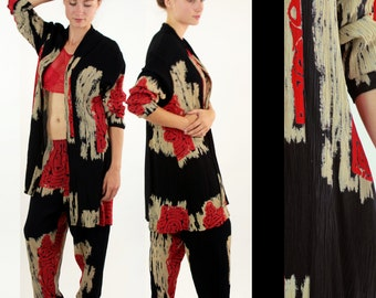 Vtg 90s Ethnic BOHO Crinkle Rayon MAYAN Pant Suit // Draped Jacket Loose Fit Elastic Waist Pants