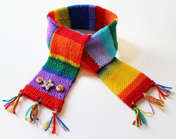 Rainbow Eco Scarf for Kids - Children's Colourful Scarf Handmade From Recycled Scraps of Yarn