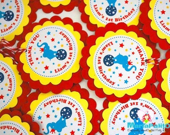 12 Circus tags, Vintage Circus Tags, handmade tags, favor tags, customized tags,  Personalized party favor tags, twine on the side, A996