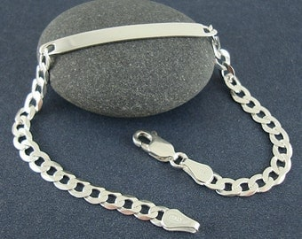 Sterling Silver ID Bracelet, Stamping Bar, 5mm Curb Chain, Lobster Clasp - 7 1/2 Inch