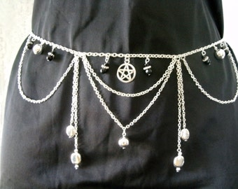 Pentacle Jewelry Belt, wiccan jewelry pagan jewelry wicca jewelry goddess witchcraft pentagram witch magic metaphysical gothic mystic occult