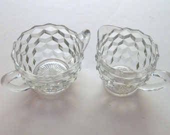 Hazel Atlas Glass Cube Pattern Clear Glass Creamer and Open Sugar Bowl - Vintage