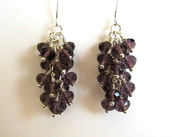 Silver and Purple Crystal Cluster Earrings Purple Cluster Earrings Purple Crystal Waterfall Earrings