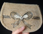 Vintage Beaded BOW Clutch / champagne clutch / pearl clutch wedding bag wedding clutch bridal clutch